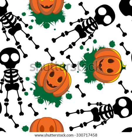 Beautiful art creative colorful halloween holiday wallpaper vector illustration of black skeletons human bones and orange pumpkins on white seamless background
