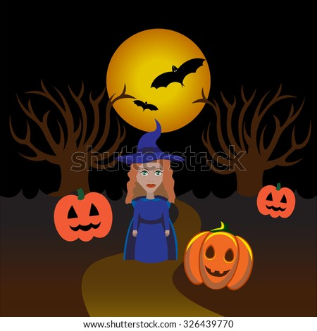 Beautiful art creative colorful halloween holiday wallpaper vector illustration of one magic woman in blue coat and hat standing on road in forest with pumpkins and round yellow moon - stock vector