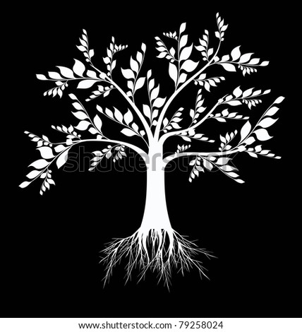 Beautiful art tree silhouette isolated on black background - stock vector