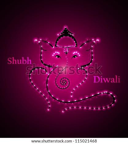 Beautiful Artistic bright colorful  Hindu Lord Ganesha vector design - stock vector