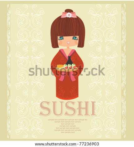 beautiful Asian girl enjoy sushi - stock vector
