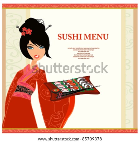 beautiful Asian girl enjoy sushi - menu template - stock vector