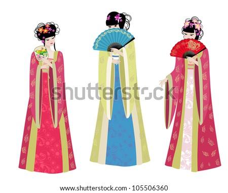 Beautiful Asian girls in costumes - stock vector