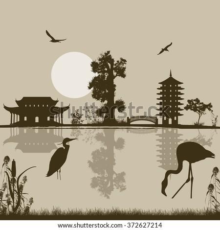 Beautiful asian landscape near water on retro style background, vector illustration   - stock vector