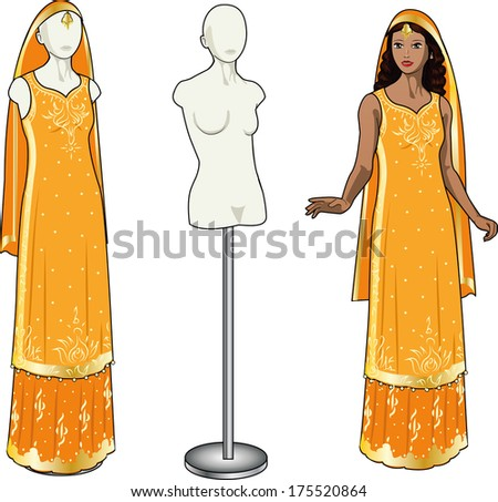 Beautiful asian woman tries on authentic traditional orange wedding sari in showing-room and gown on the mannequin isolated cartoon illustrations - stock vector