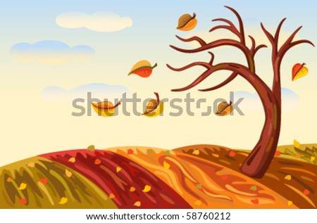 Beautiful autumn landscape in rich golden and red. Vector illustration saved as EPS AI8, all elements layered and grouped. - stock vector