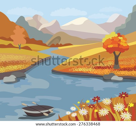 Beautiful autumn landscape (vector illustration) - stock vector
