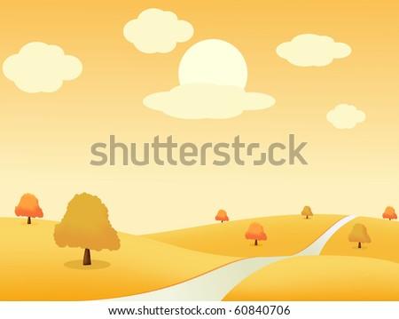 Beautiful autumn landscape. Vector illustration - stock vector