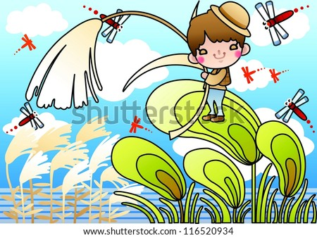 Beautiful Autumn Scenery - enjoying lovely cute young boy with a reed and red dragonflies in romantic garden on a background of blue sky : vector illustration - stock vector