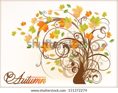 Beautiful Autumn Tree . vector illustration - stock vector