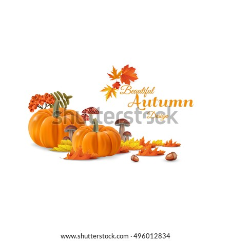 Beautiful autumn vector photorealistic still life, with autumn maple leaves and autumn pumpkins. Vector design in autumn theme.