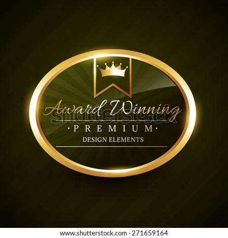 beautiful award winner golden label badge vector design illustration - stock vector