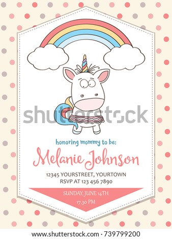 Baby Shower Card Template | Beautiful Baby Shower Card Template Lovely Vector De Stock739799200