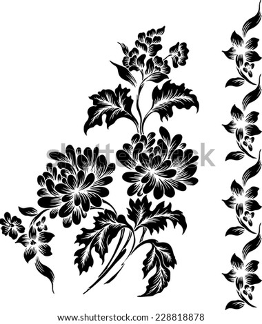 Beautiful background.flowers on black background. - stock vector