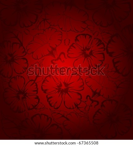 Beautiful background from red flowers. Vector