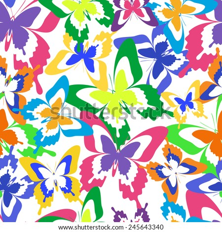 Beautiful background seamless pattern with flying colorful butterflies over white. Bright stylish trendy wallpaper. Vector illustration - stock vector