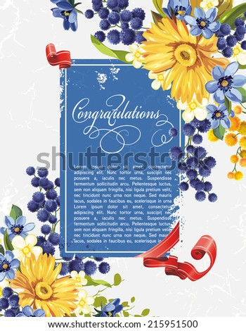Beautiful background with gerbera flower. Elegance Vintage card. Retro decor illustration - stock vector