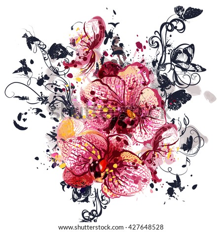 Beautiful background with orchid  flowers in watercolor style painted by spots - stock vector
