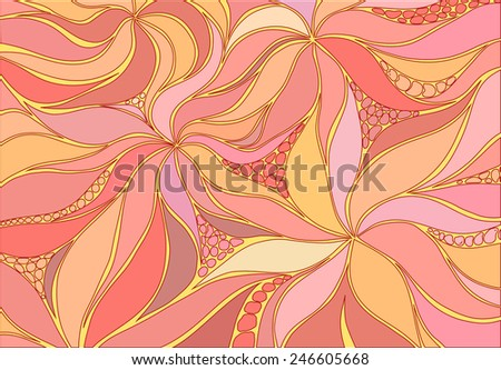 Beautiful background with stylized flowers and leaves - stock vector