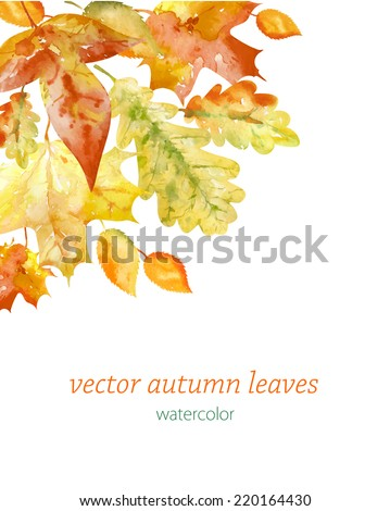 Beautiful background with watercolor  Autumn leaves, invitation, card, vector illustration - stock vector