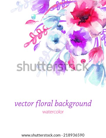Beautiful background with watercolor flowers for cards, wedding invitation, vector illustration - stock vector