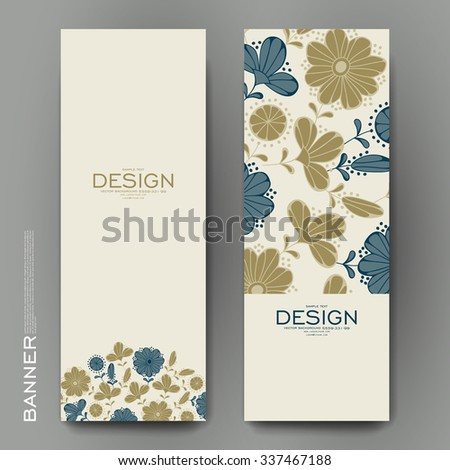Beautiful banner vector template with floral background. Creative modern design