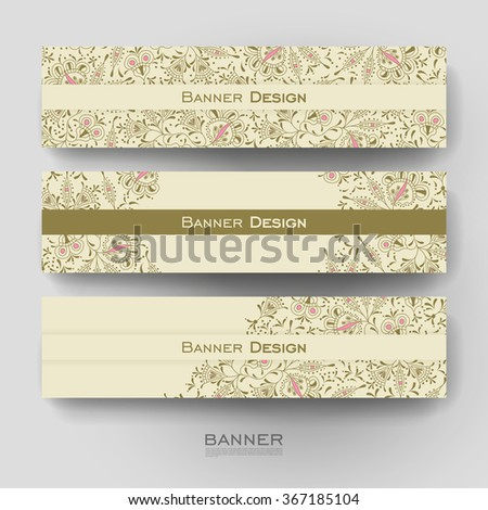 Beautiful banner vector template with floral ornament background. Creative modern design