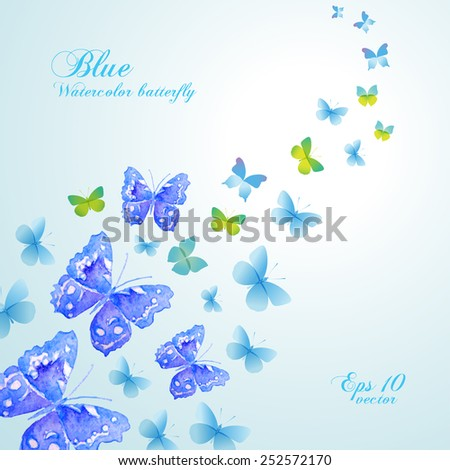 Beautiful banner with blue watercolor butterflies. Vector. - stock vector