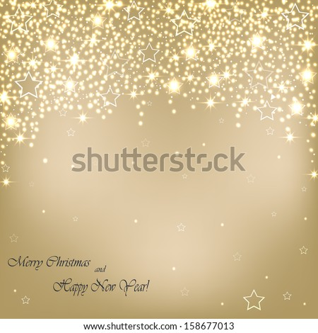 Beautiful beige background with stars and snowflakes. Vector  illustration