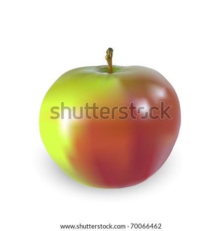Beautiful big apple isolated on a white background, vector illustration