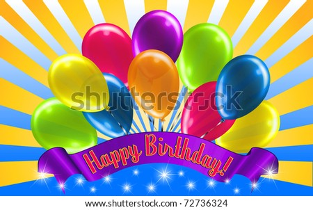 Beautiful Birthday Message with Balloons - stock vector