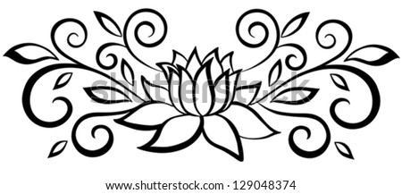 Beautiful black and white abstract flower. With leaves and flourishes. Isolated on white. Many similarities to the author's profile