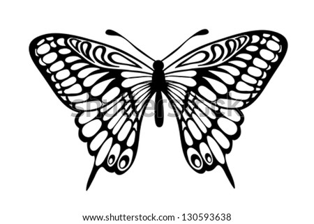 Beautiful black and white butterfly isolated on white. Many similarities to the author's profile - stock vector