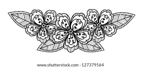 Beautiful black-and-white flower, hand drawing. Many similarities to the author's profile. - stock vector