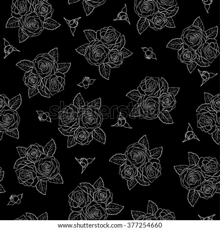 beautiful black and white seamless pattern in roses. background for design for greeting card and invitation of the wedding, birthday, Valentine's Day, mother's day and other seasonal holiday - stock vector