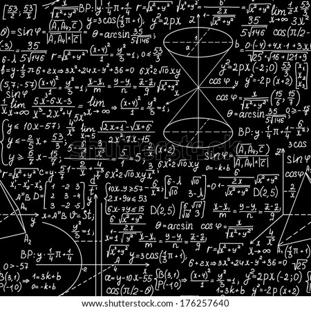 Beautiful black and white vector mathematical seamless pattern with figures and equations. You can use any color of background