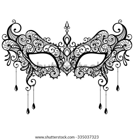 beautiful black lace masquerade mask isolated stock vector 335037323 rh shutterstock com