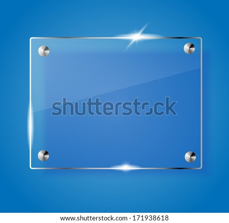 Beautiful blank shining glass banner on a blue background VECTOR - stock vector