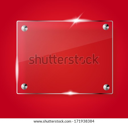 Beautiful blank shining glass banner on a red background VECTOR - stock vector