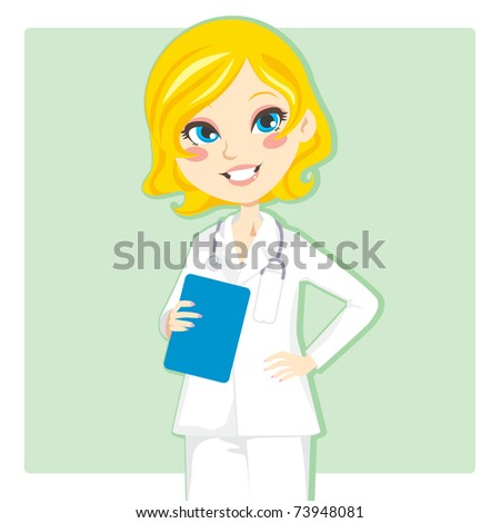 Beautiful blond woman doctor smiling and holding a clipboard - stock vector