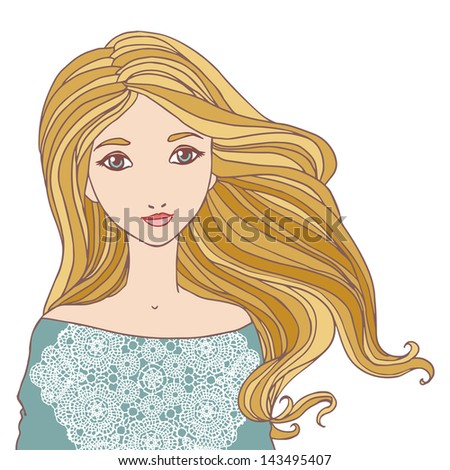 Beautiful blond young woman isolated vector illustration.