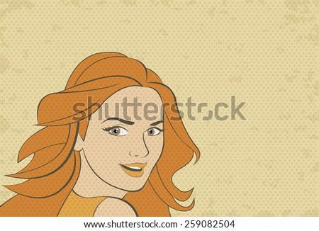 Beautiful blonde retro woman face. Vintage art. - stock vector