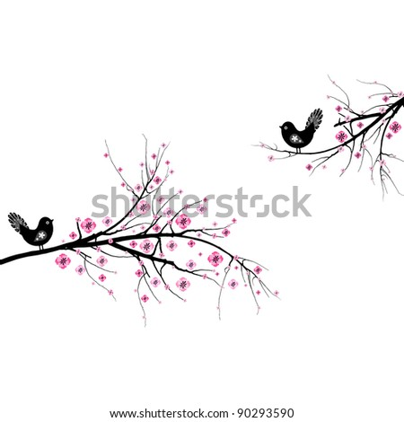 Beautiful blossom cherry and birds isolated on white background - stock vector