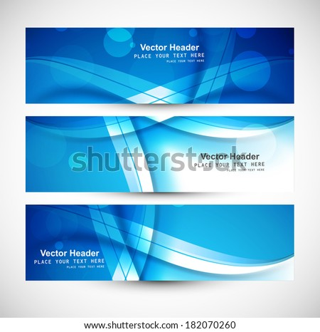 Beautiful blue abstract three header set colorful wave vector  - stock vector