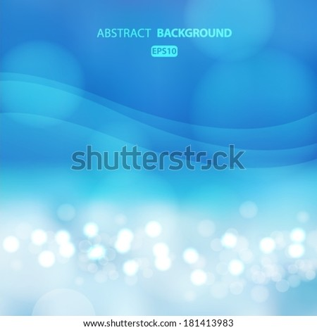 Beautiful Blue beach, summer, sea background with place for text and bokeh effect. Vector EPS 10 illustration.