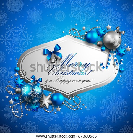 beautiful blue christmas background with place for text - stock vector