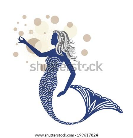 Beautiful blue mermaid  - stock vector