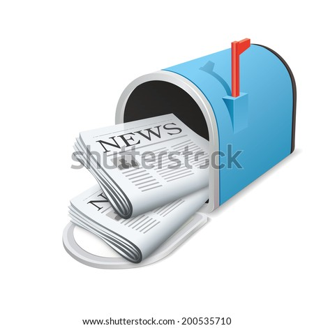Beautiful blue metallic opened mailbox. Vector icon. Daily news  - stock vector
