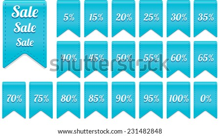 beautiful blue ribbon discount label elements set - sale and percentage - stock vector