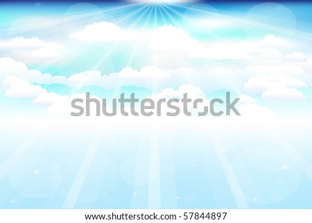Beautiful  Blue Vector Sky With Clouds, Beams And Stars - stock vector